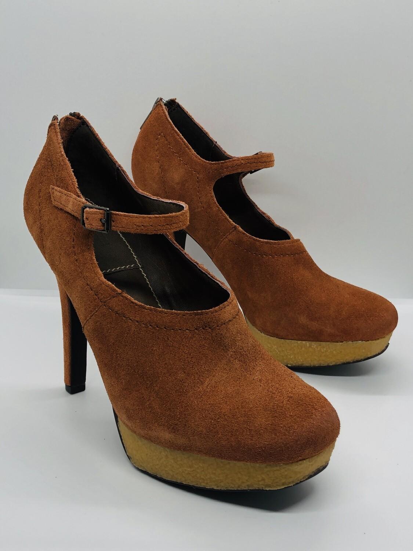 "New BACIO 61 ""Violino"" Rust Suede Mary Jane Platform Shoes size 8"