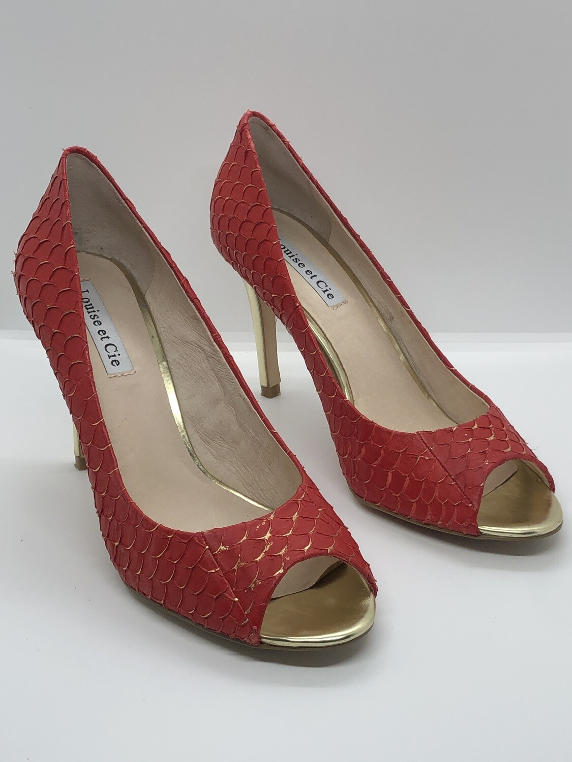 LOUISE et CIE Red & Gold Snakeskin Peep Toe Heels size 8 1/2