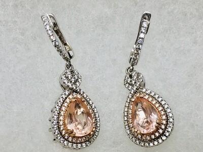Exquisite Sterling Silver & Rose Gold CZ Teardrop Pierced Earrings