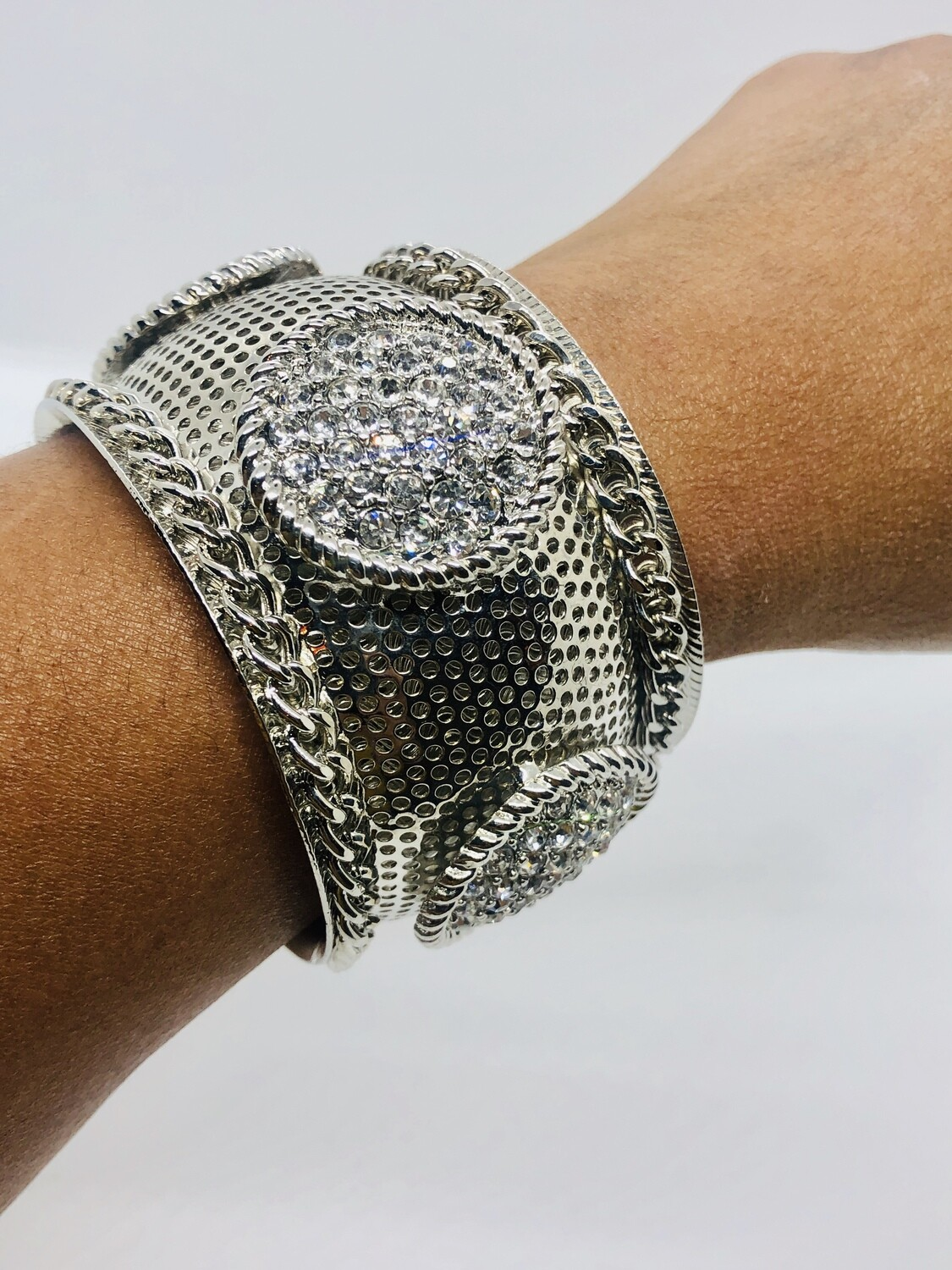 Large Abstract Perforated Silver & Rhinestone Cuff Bracelet
