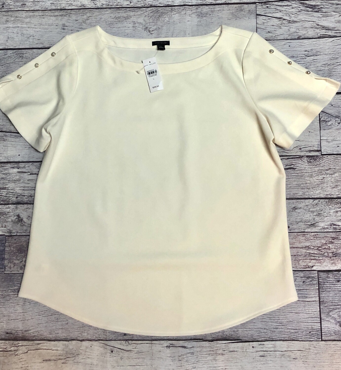 New ANN TAYLOR Cream Pearl Blouse size Large $59.50