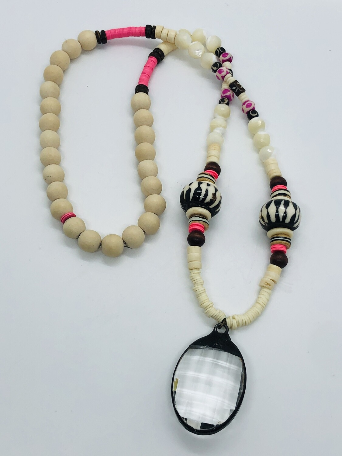 Abstract  Glass & Wood Bead & Large Crystal Necklace
