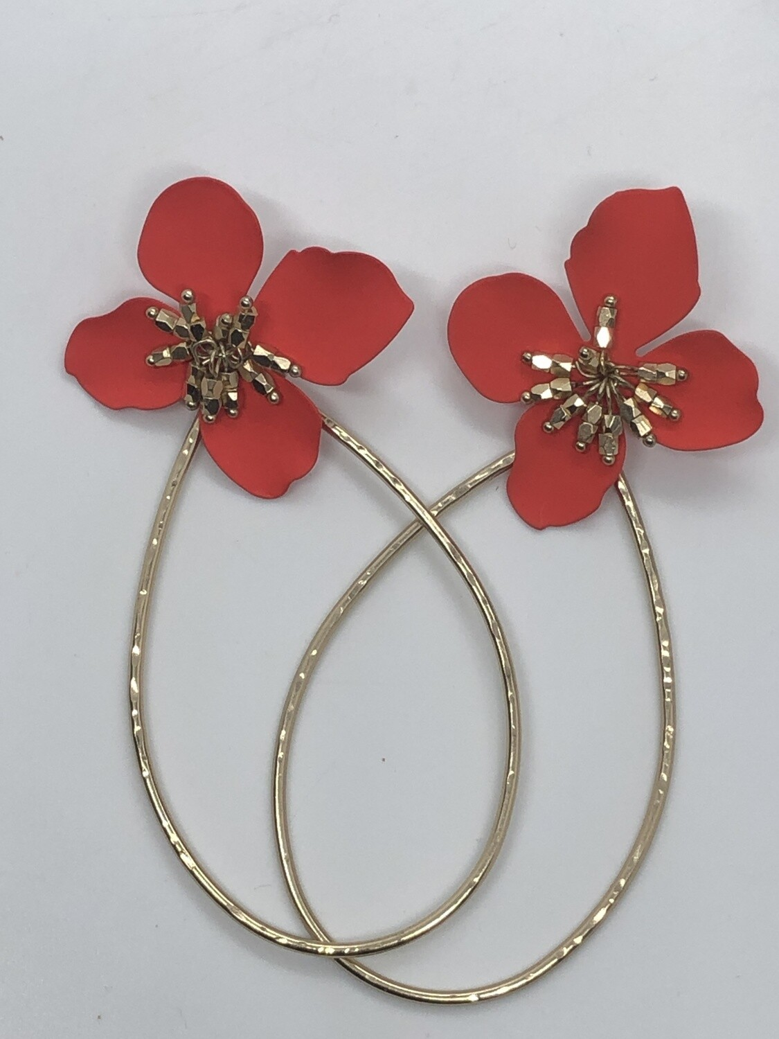 Metal Red Floral & Gold Pierced Earrings