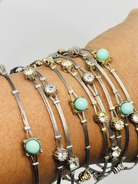 9pc Bead & Rhinestone Thin Wire Bangle Bracelets