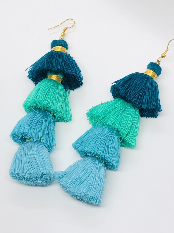 Abstract 4-Tier Tassle Dangle Earrings