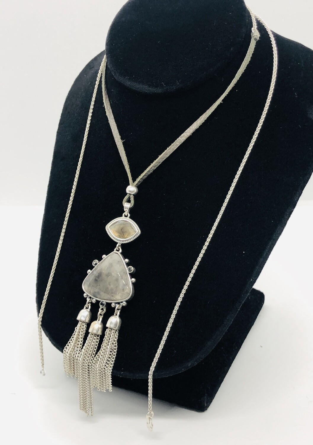LUCKY BRAND Silver & Gray Stone Adjustable Necklace