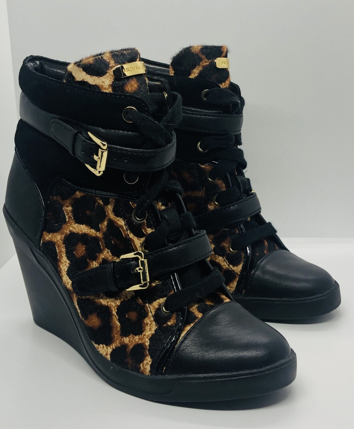 MICHAEL KORS Animal Print Fur & Leather Wedge Ankle Boots size 7 1/2