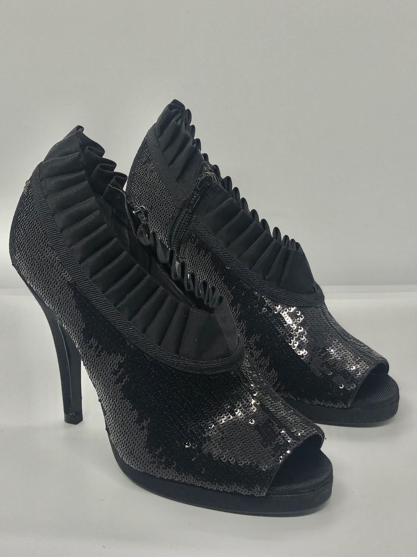 NINA Black Sequin Ruffle Trim Bootie Shoe Heels size 6 1/2