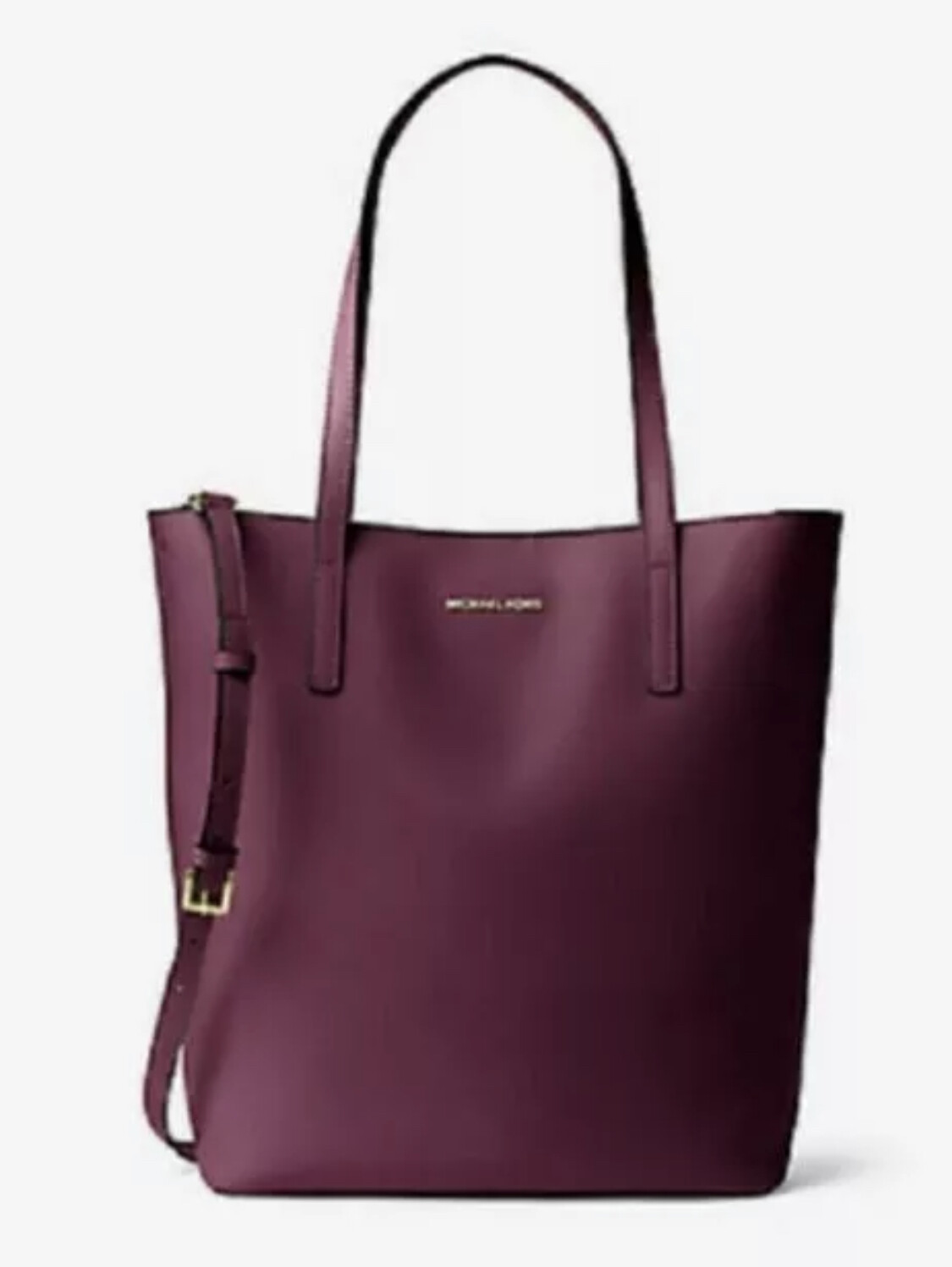 """New MICHAEL KORS """"Ermy"""" Leather Tote in Plum with Shoulder strap $298"""