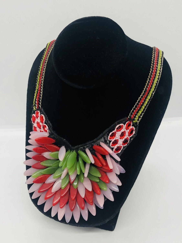 ANTHROPOLOGIE Tri- Color Glass Floral Petal Statement Necklace