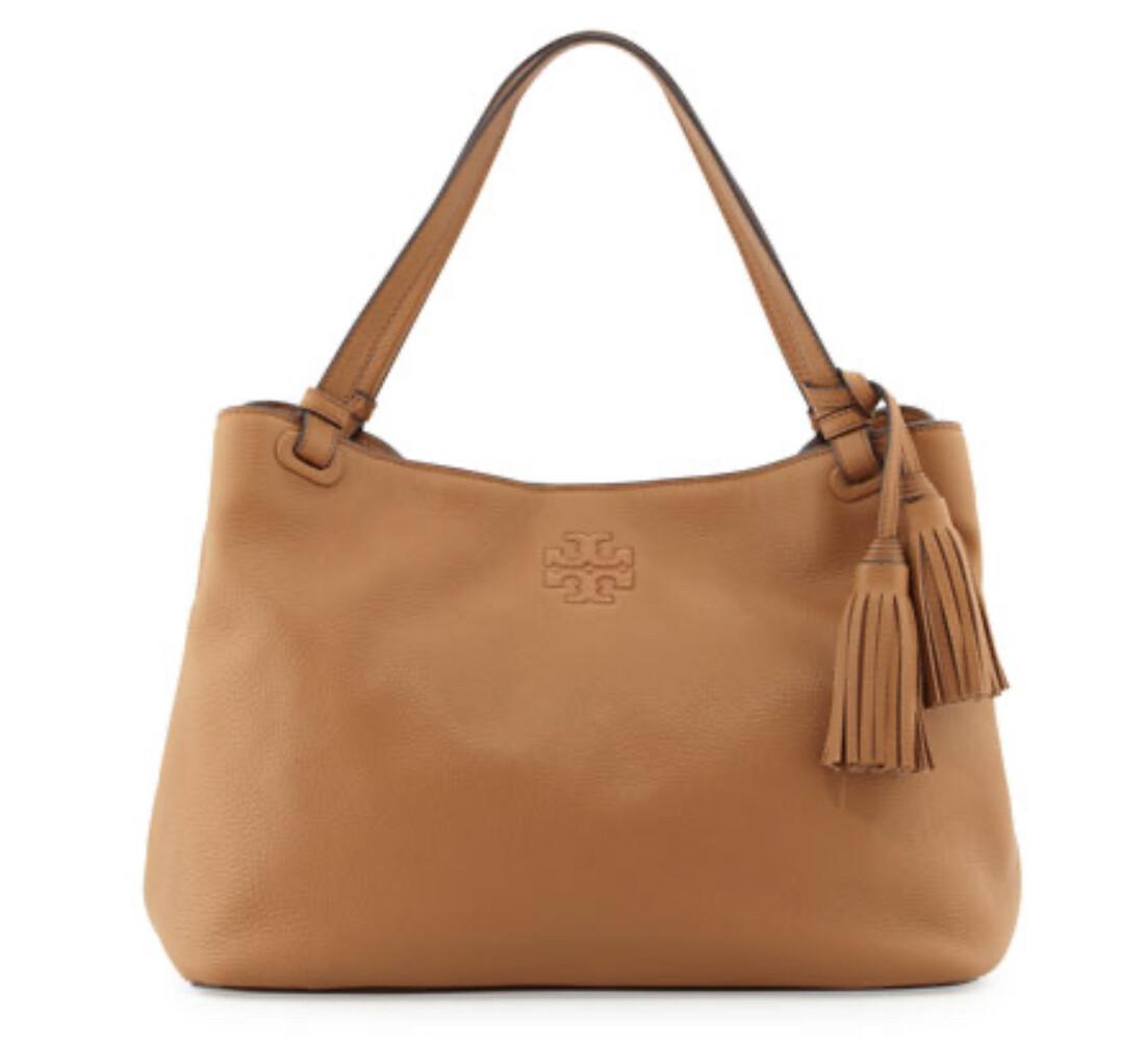 "TORY BURCH ""Thea"" Center Zip Pebble Leather Handbag $495.00"