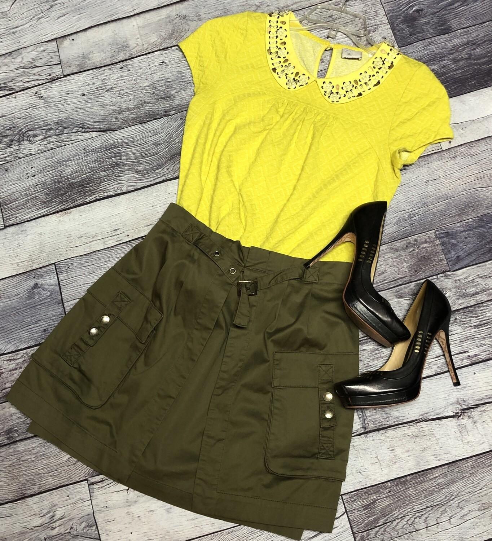 NANETTE LEPORE Olive Green Khaki Green Open Vent Cargo Skirt size 6