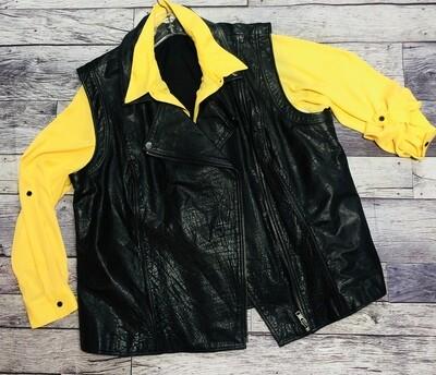 SEJOUR Black Crinkled Leather Moto Vest size 20W