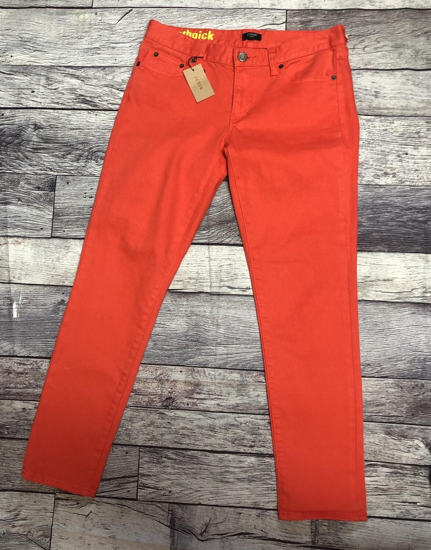 "New J CREW "" Ankle Toothpick"" Orange Super Skinny Stretch Jeans size 28 US 6"