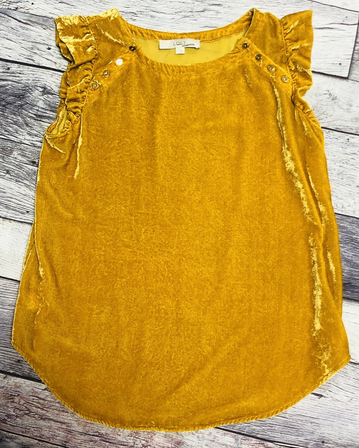 Ann Taylor LOFT Mustard Yellow Crushed Velvet Top size Small