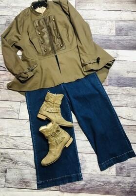 Ladies DISNEY Neverland Olive Military Style Hi-Lo Swing Jacket size 3X