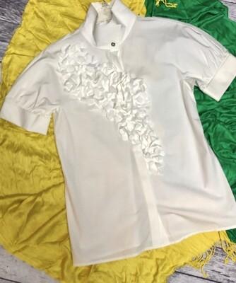 MAGASCHONI Collection White Dogwood Floral Applique Blouse Medium