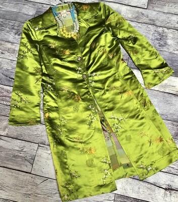 F. L MALIK Lime Green Asian Inspired Silk & Rayon Long Jacket Medium
