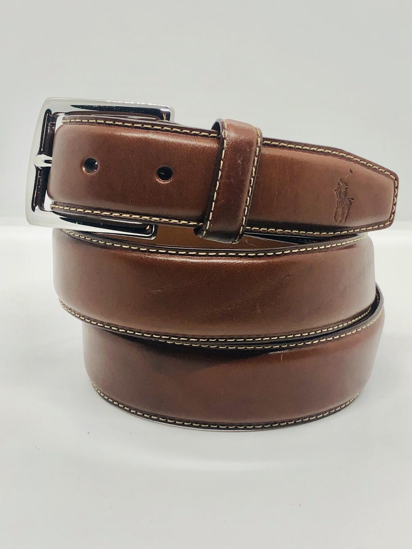 Mens RALPH LAUREN Cognac Color Leather Belt size 42