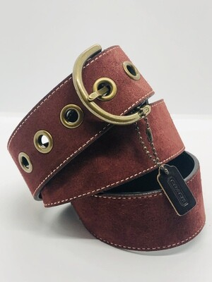 Ladies COACH Merlot Suede Belt with Brushed Gold Hardware
