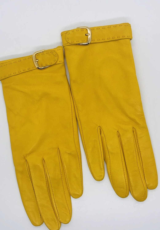 New BANANA REPUBLIC Mustard Yellow Lambskin Leather Gloves