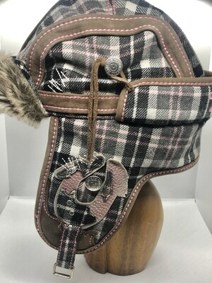 TRUE RELIGION Plaid & Faux Fur Amelia Earhart Aviator Trapper Hat