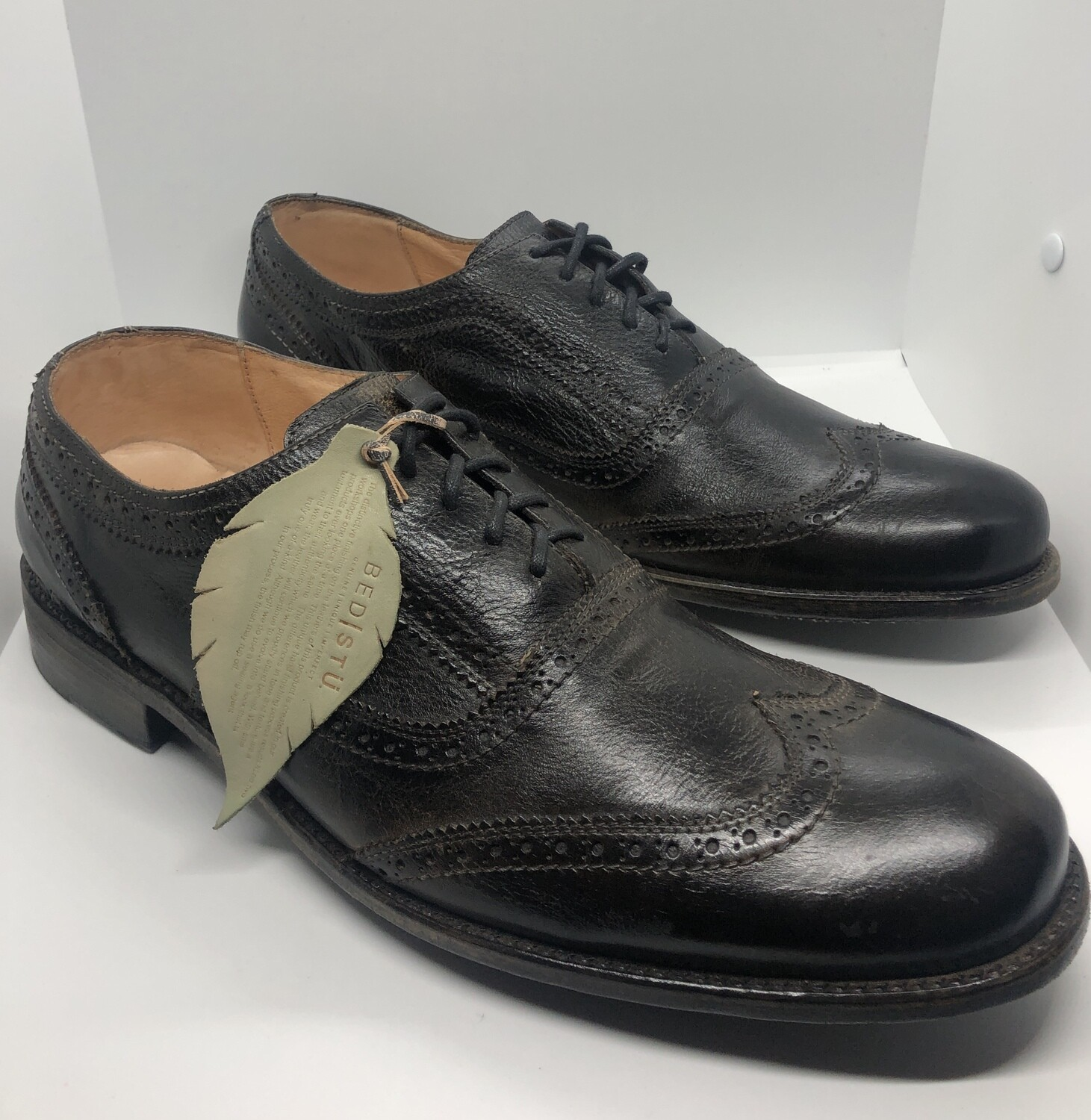 "New Mens BEDSTU ""Cobbler"" Off Black Lace-Up Leather Wing Tip Oxfords size 16"