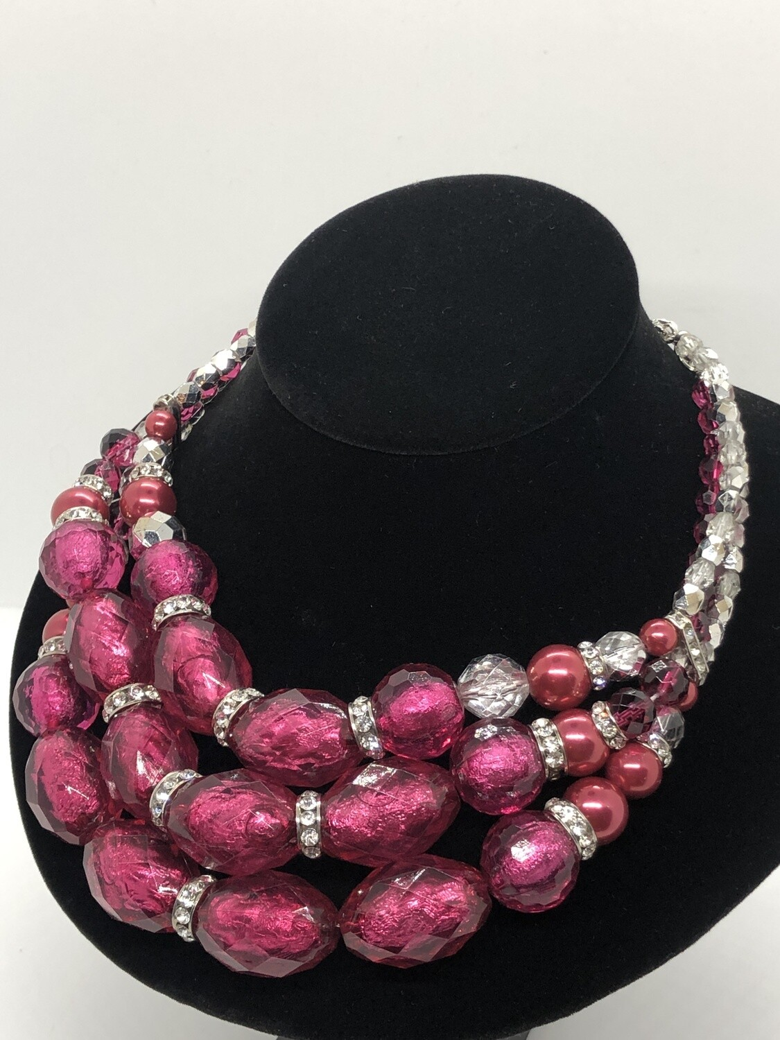 White House Black Market Triple Stand Pink Bead Necklace