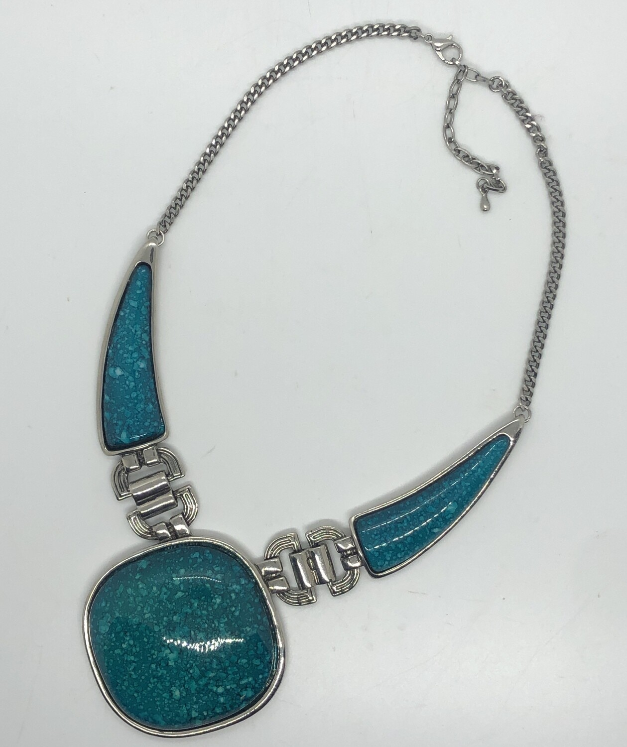 Turquoise & Silver Large Ornate Statement Necklace