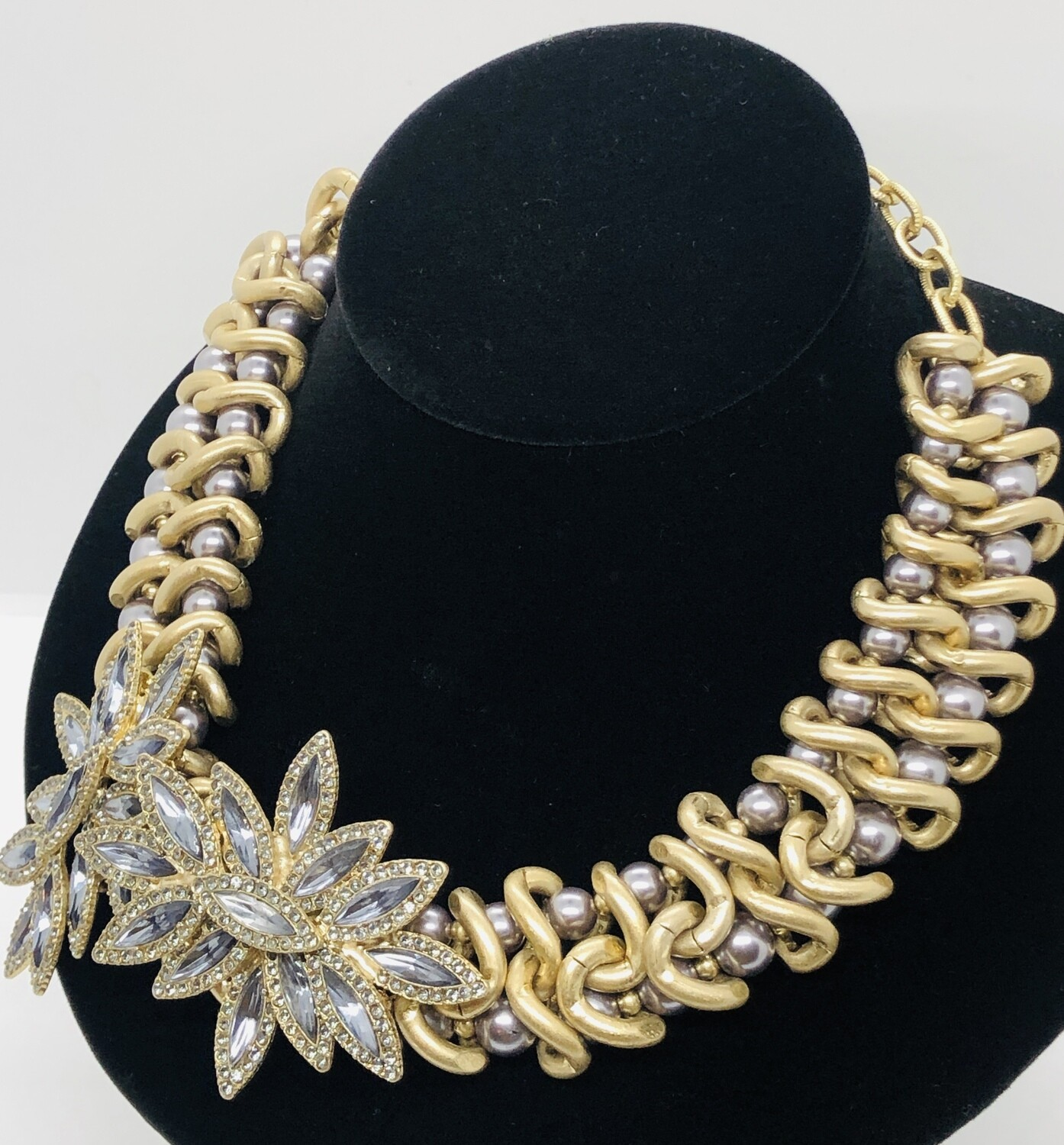 Ann Taylor LOFT Brushed Gold, Rhinestone & Pearl Statement Necklace