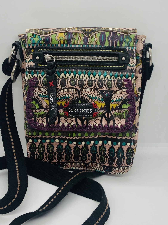 SAK ROOTS Abstract Coated Canvas Crossbody Handbag