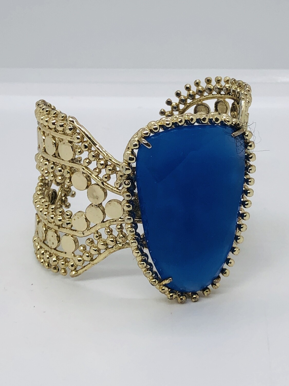 Large Lilac Blue Stone Statement Cuff Bracelet