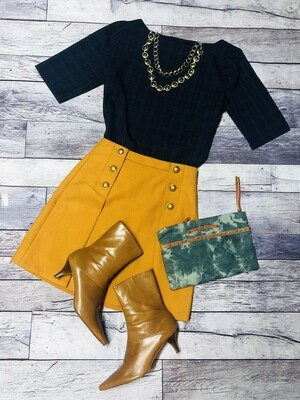 J CREW Mustard Yellow Button Wool Skirt size 2