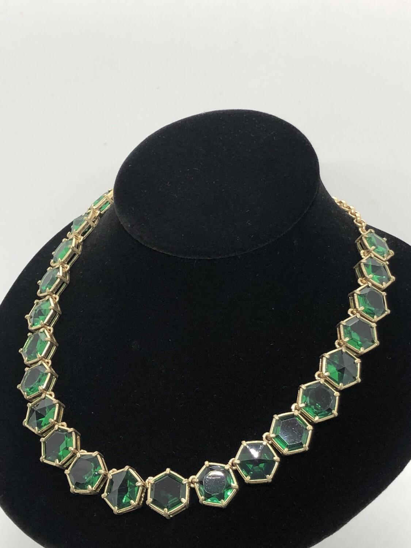 New TALBOTS Green Stone Hexagon Statement Necklace $79