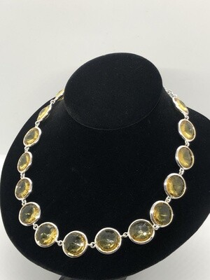 WHITE HOUSE BLACK MARKET Silver & Yellow Stone Statement Necklace