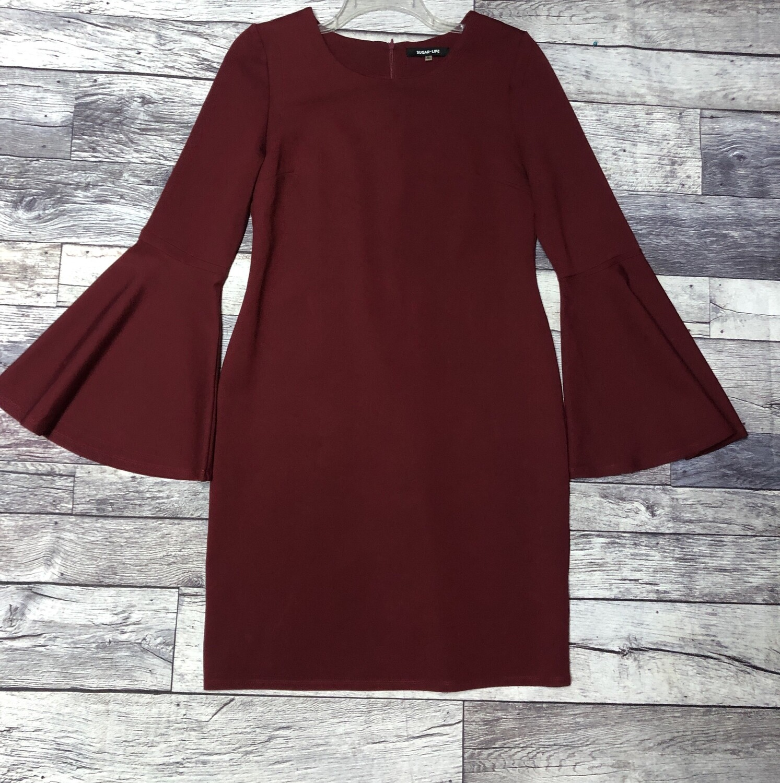 SUGAR LIPS Maroon Flair Sleeve Dress size XL