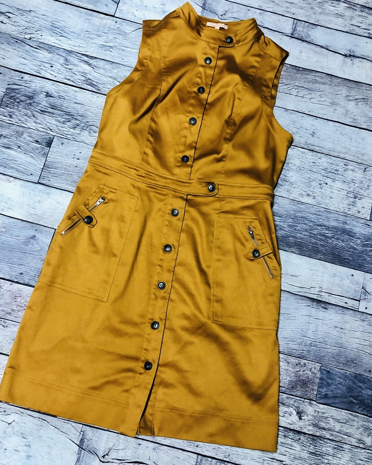 GIBSON & LATIMER Mustard Button Front Dress size L