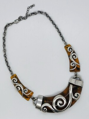 Abstract Amber & Silver Design Statement Necklace