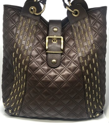 KATE LANDRY Brown Quilted & Gold Chainlink Leather Tote Bag