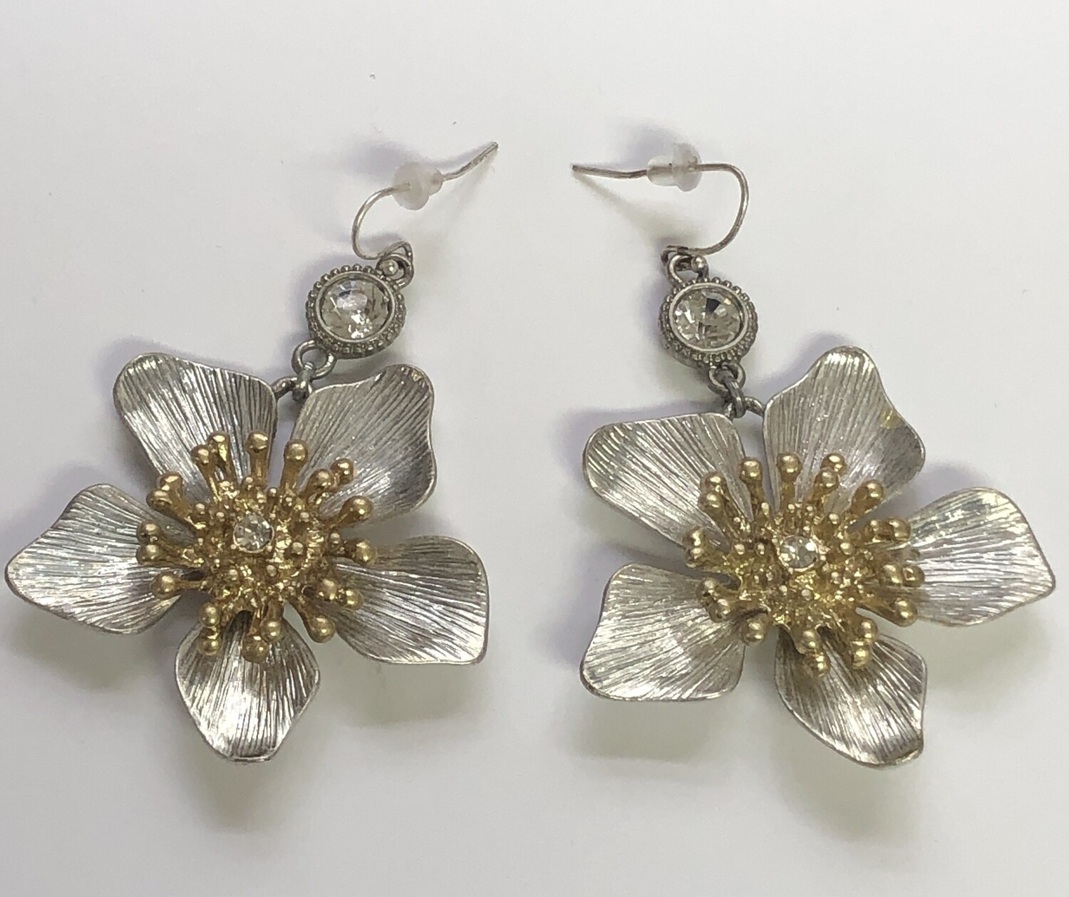 Silver, Gold & Rhinestone Floral Drop Earrings