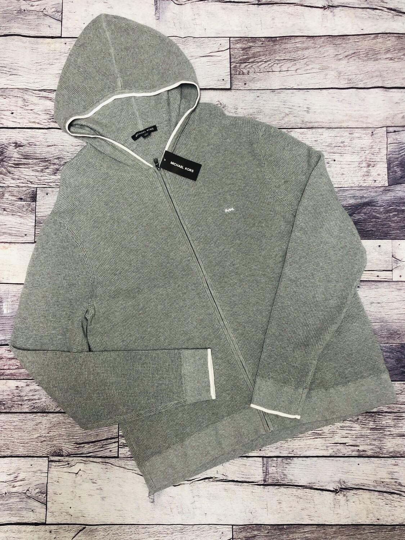 New Mens MICHAEL KORS Heather Grey Knit Zip Hoodie XXL $148