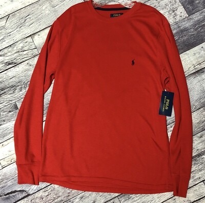 New Mens Ralph Lauren POLO Red LS Thermal Shirt Large