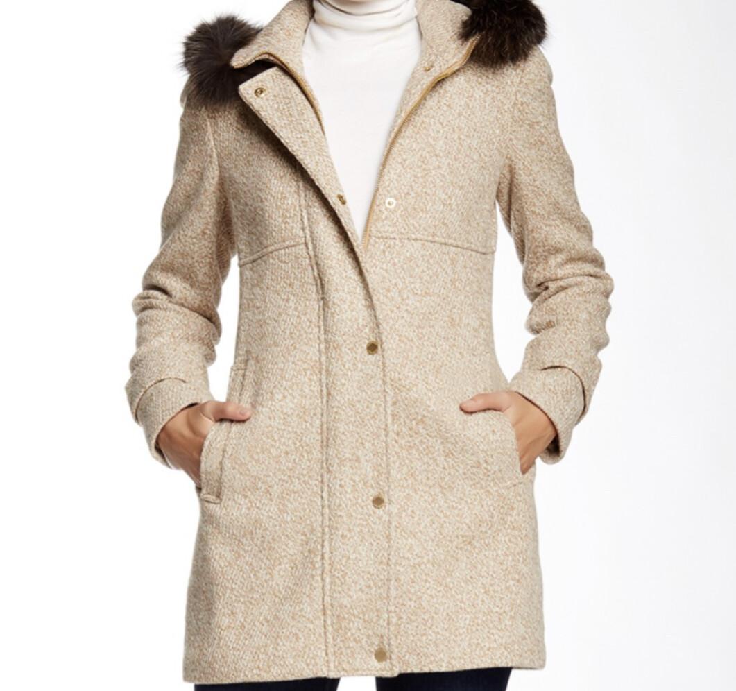 ELLEN TRACY Mixed Tan Wool & Fox Trim Zip Front Coat size 18W