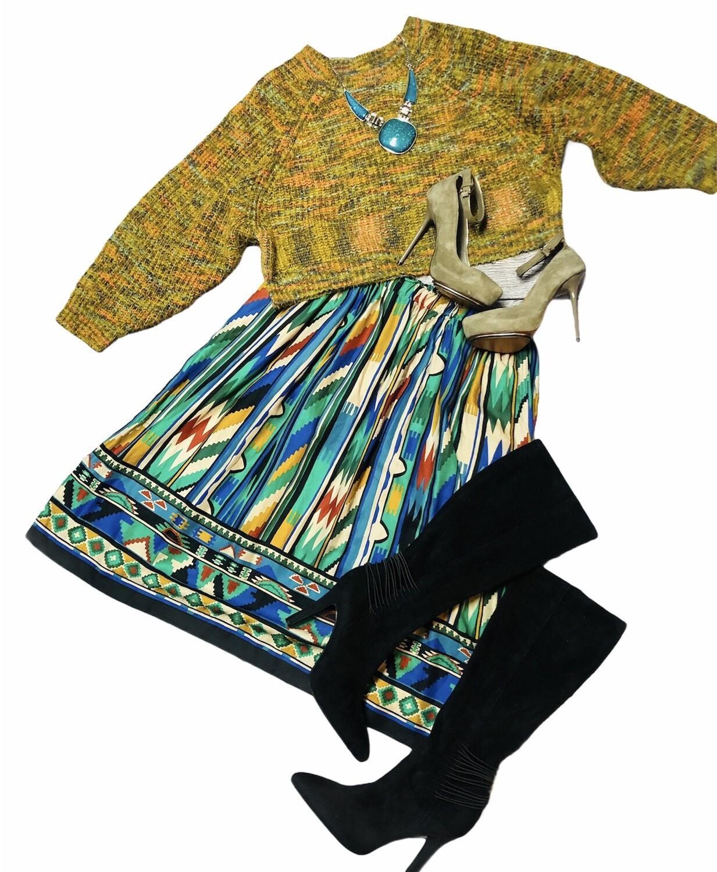 CHELSEA & VIOLET Knit Shag Multi Color Crop Sweater size Medium