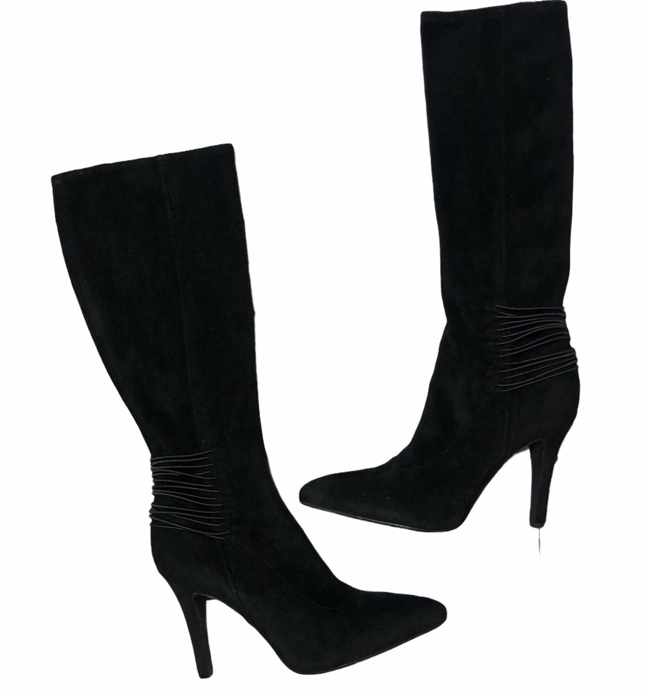 BCBGeneration Black Stretch Suede Knee-Hi Hi-Heel Boots size 11