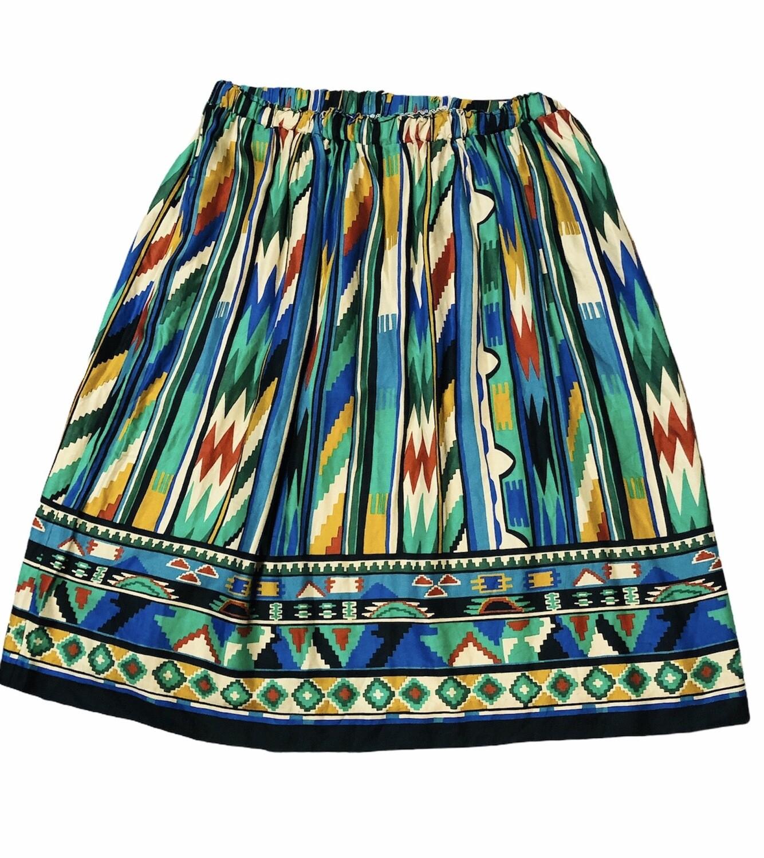 Vintage AZTEC PRINT Rayon Skirt size XL