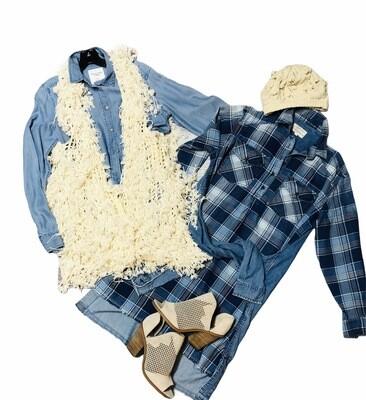 Designer CURRENT ELLIOTT Plaid Sleeve Tie Denim Dress size S/M
