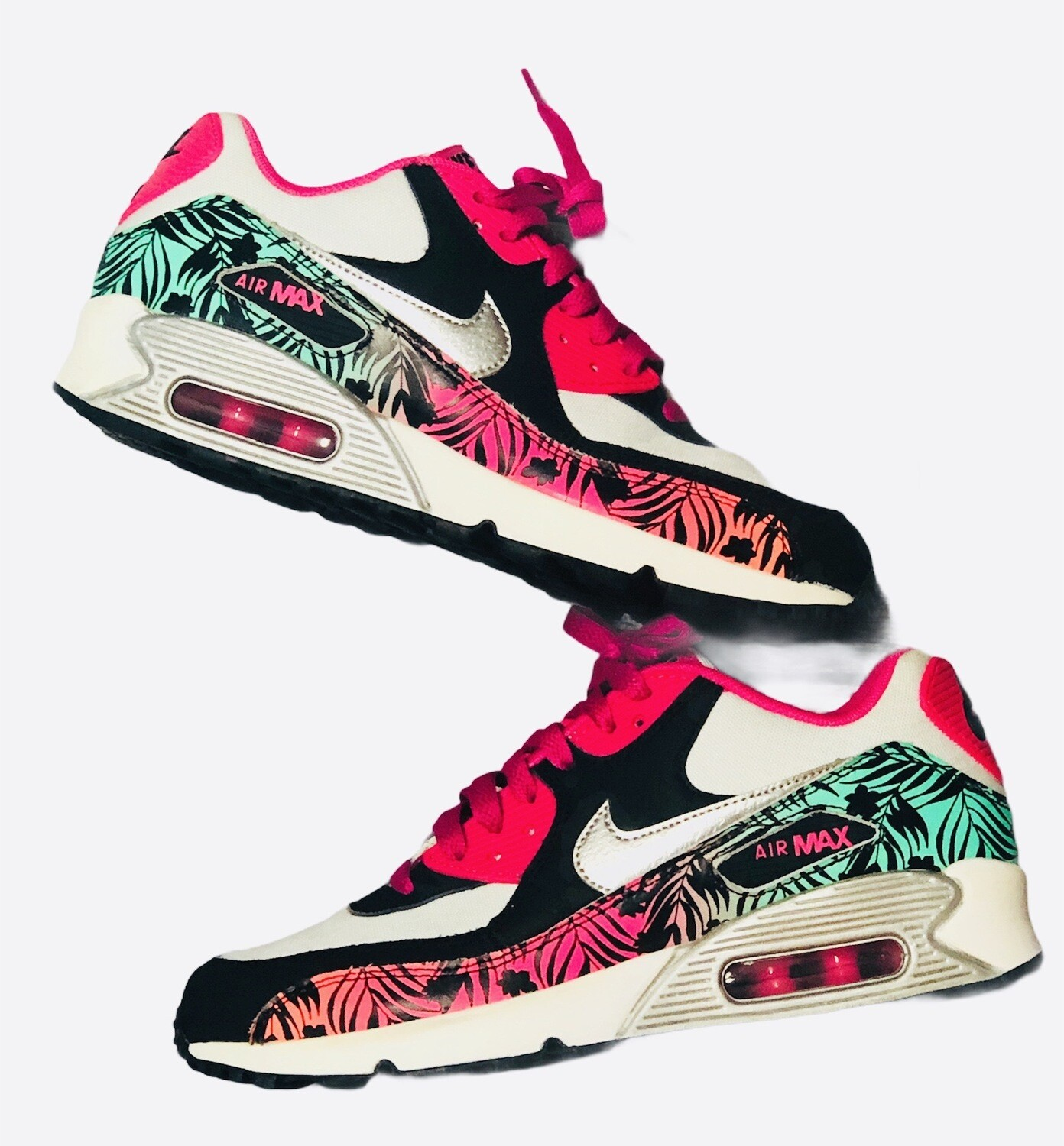 NIKE Air Max 90 Tropical Print Training Sneakers size 6 1/2
