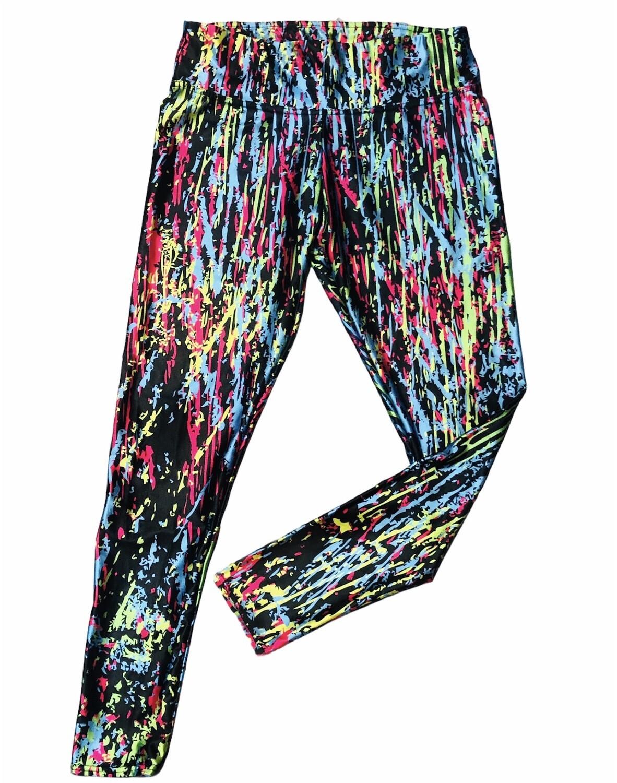 New Black Color Splash Leggings by LOTUS LEGGINGS