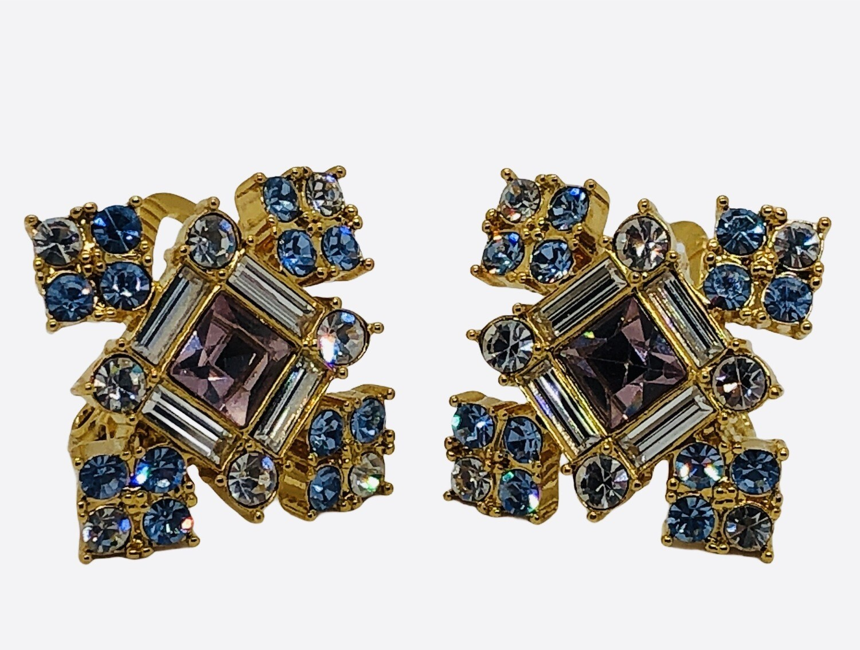 Beautiful Baby Pink & Lt. Blue Rhinestone Clip Earrings